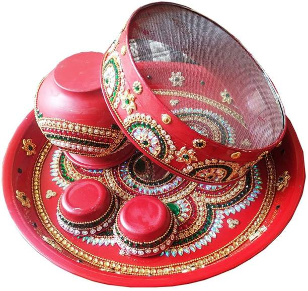salvusappsolutions Creative Free Hand Handcrafted Pooja Thali Set for Karwachauth with channi (Multicolour) Steel