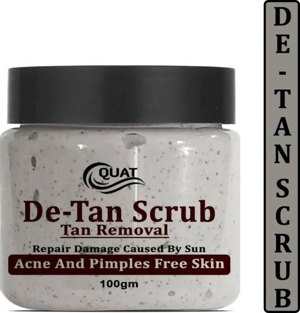 QUAT De-Tan Face Scrub,Tan Removal Face Scrub for Glowing Skin,Oily,Dry Skin,Women,Men (100gm) Scrub