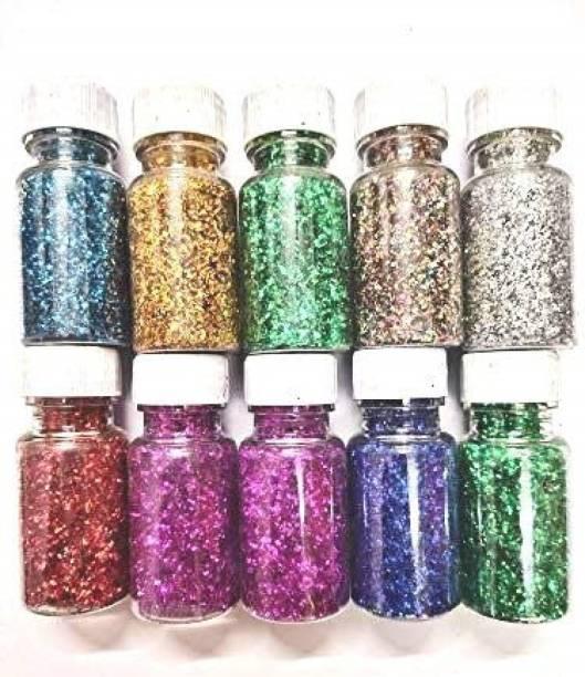 Idha Multicoloured Sparkle Glitter Powder, Glitter Dust for Art & Craft, Rangoli, School and DIY Projects