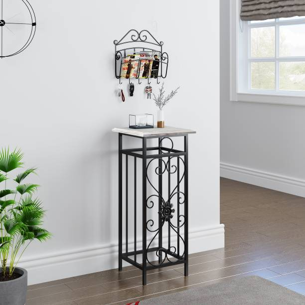 House of Pataudi Solid Wood Wrought Iron Table Durable and Side Table for Home Decor With Iron Key Rack Metal Side Table