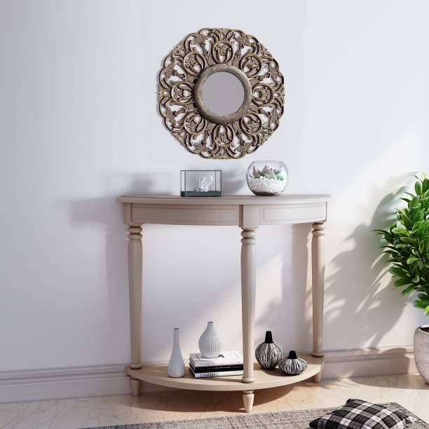 House of Pataudi Hand Crafted Wooden Rustic Brown Mirror Frame with Off White Console Table for Living/Hallway Room Solid Wood Console Table