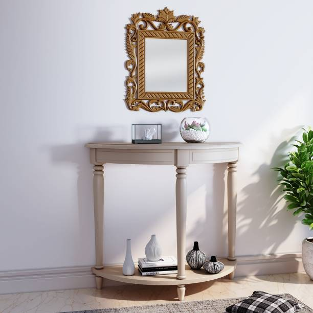 House of Pataudi Hand Crafted Wooden Golden Mirror Frame with Off White Console Table for Living/Hallway Room Solid Wood Side Table