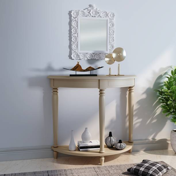House of Pataudi Hand Crafted Wooden White Mirror Frame with Off White Console Table for Living/Hallway Room Solid Wood Side Table