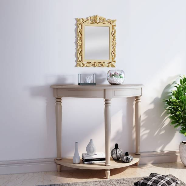 House of Pataudi Hand Crafted Wooden Yellow Mirror Frame with Off White Console Table for Living/Hallway Room Solid Wood Side Table