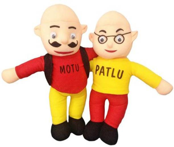 Revive Stuffed Soft Toy Gift Motu - Patlu for kids ( Multicolour - Red and Yellow ) - 36 Cm  - 36 cm