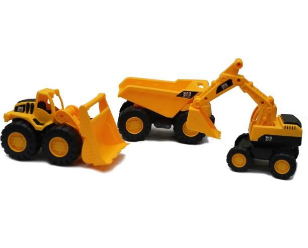 Smartcraft Super Builders 3 in 1 Truck Set, Construction Vehicles Set- Multicolor