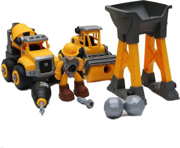 Smartcraft Construction Play Set, DIY Dissembled Assembled JCB & Dumper Construction Vehicle Set Toy for Kids