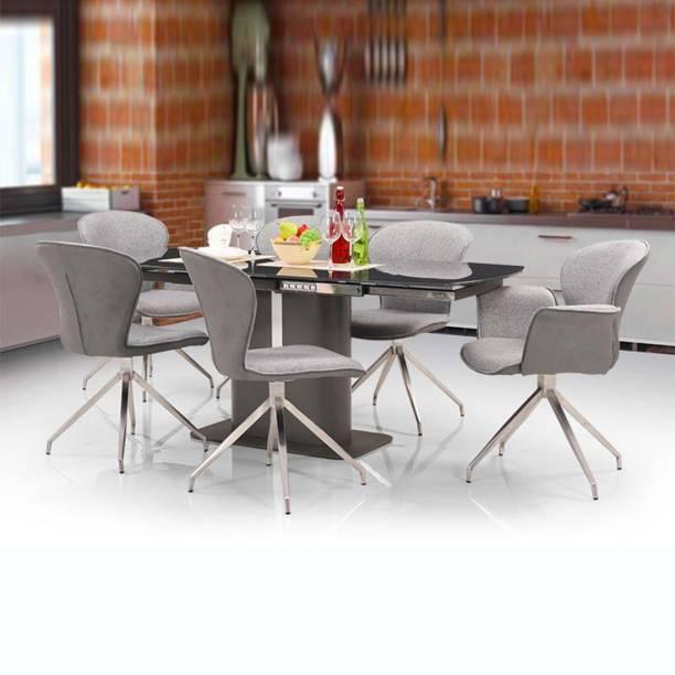 RoyalOak Glass 6 Seater Dining Set