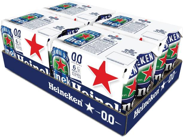 Heineken 0.0 % Non Alcoholic Lager Beer - Zero Dot Zero Can, 24 Cans, 24 x 330ml Can