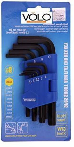 Volo Dehex Allen L- keys set -Short Pattern 1.5mm/2mm/2.5mm/3mm/4mm/5mm/6mm/8mm/10mm(9cs Set) Allen Key Set