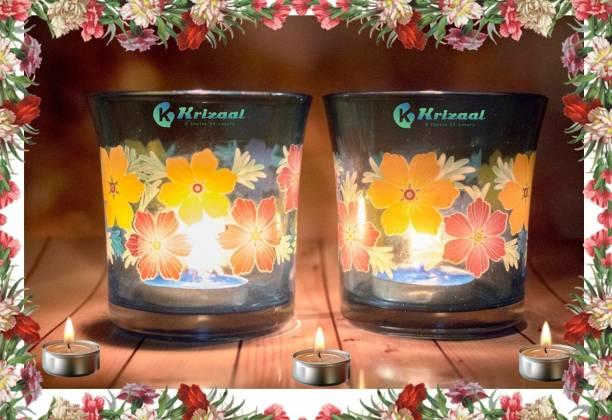 Krizaal Glass 4 - Cup Tealight Holder Set