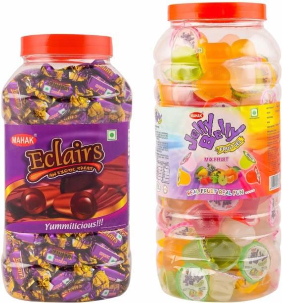 Mahak Eclairs Jar & Mix Fruit Jelly Jar / Combo Pack of 2 jar Mix Fruit & Eclairs Delight Jelly Candy