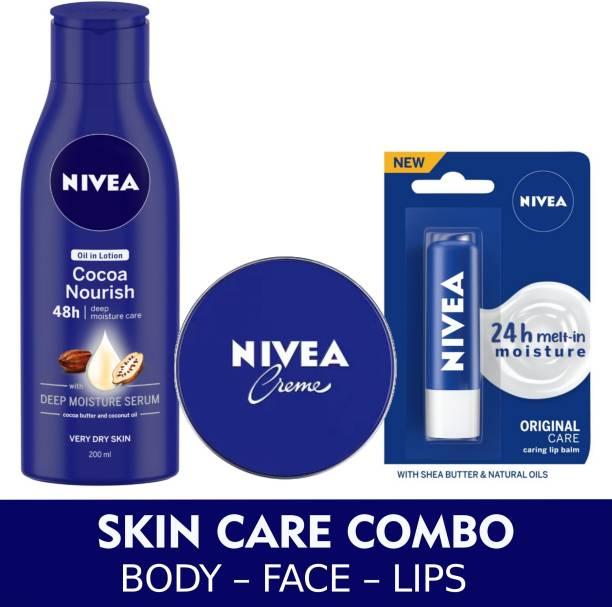 NIVEA Cocoa Nourish Lotion 200 ml, Lip Balm 4.8 g and Creme 60 ml