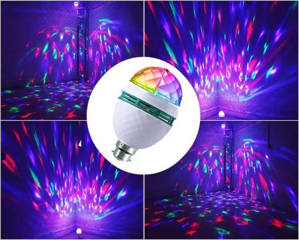 JIZ NEW ARRIVAL 360 Degree Rotating Crystal LED Bulb,LED Light, LED Disco Light for Party,Function,Diwali,Christmas Decoration, Single Disco Ball