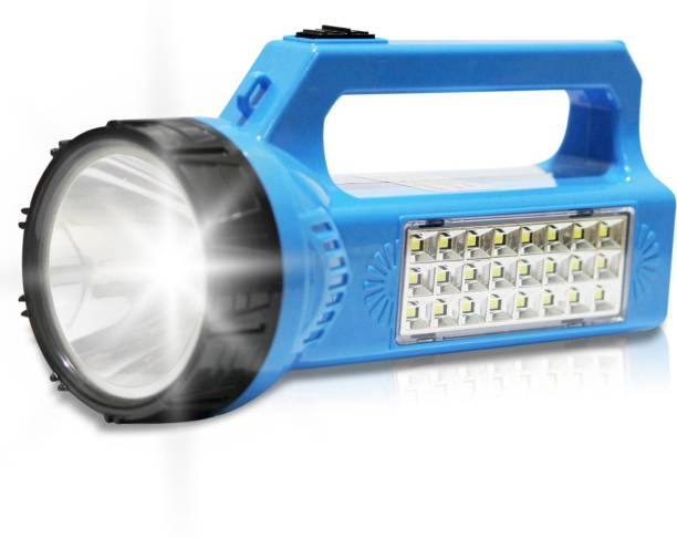 Pick Ur Needs SOLAR Primium Quality Led Rechargeable Torch 30 Watt + 24 SMD Side Light Search Torch Torch Emergency Light