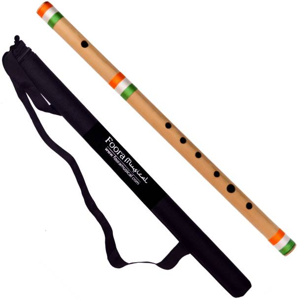 Foora Flutes C Natural FLAG Right Hand Bansuri India Size 19 inches- Free Protector Bamboo Flute