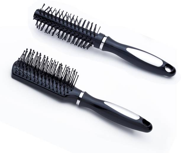 Bestone Combo of small size Round Hair Comb and Flat Hair Comb Brush with Soft Nylon Bristles for Women and Men (Purse Size)