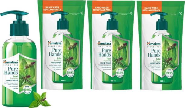 HIMALAYA Pure Hands Purifying Tulsi Hand Wash 3N 185ml + 1N 250ml Hand Wash Pouch
