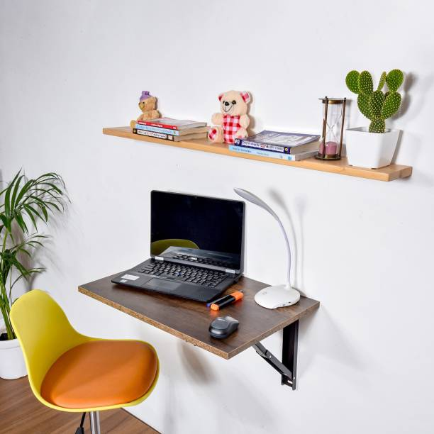 QARA Folding Wall Mounted Study Table /Office Table Stand/Laptop Table Foldable/Work Table for home Office (Dark Choco - 60 cm x 40cm ) - 100% Made in India Solid Wood Study Table