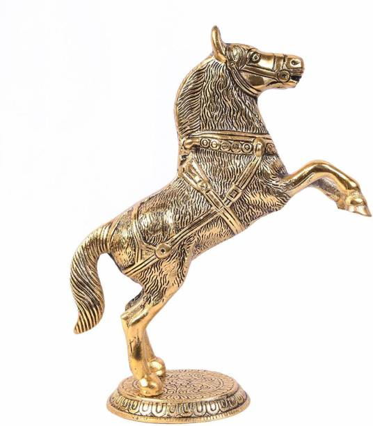 Marwari Arts Standing Horse Statue for Home Decor Horse Showpiece Wealth, Income, Shining and Bright Future Decorative Showpiece Item Decorative Showpiece  -  21.5 cm