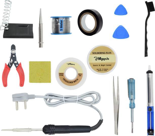 Hillgrove 14In1 Basic Complete 30W Soldering Iron Kit with 5 Meter Solder Wire, ESD Brush, Scrub, Pump, Cutter, Tester, Tweezer, Tape, Bit, Flux 30 W Simple
