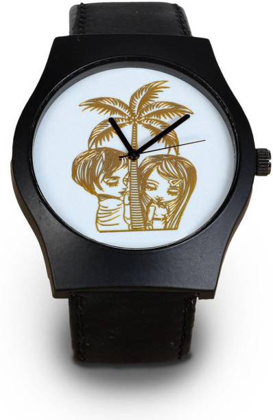 Aamivi Morden Design Love Face Tree Couple Casual Analog White Metal Dial wrist Watch Men's with 24k Gold Plated dial Pattern Analog Watch  - For Men