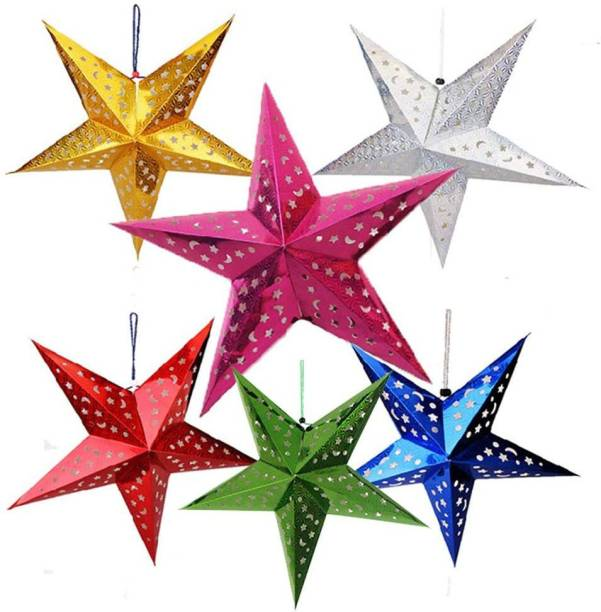 BAKEFY 3D Star Pentagram Lampshade 6PCS Colorful Hollow Paper Star Ceiling Hanging Lantern for Party Holiday Birthday Decor Hanging Star Pack of 6
