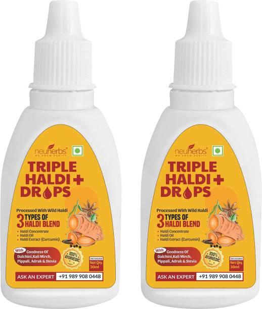 Neuherbs Triple Haldi Plus Drops- turmeric extract for Stronger Immunity Added with Dalchini, Kali Mirch, Pippali, Adrak & Stevia for extra care