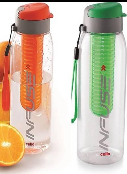 cello Infuse Plastic Water Bottle Set, 800ml, Set of 2, Green/Orange 800 ml Bottle