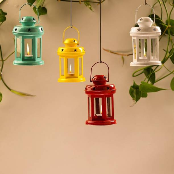 TIED RIBBONS Pack of 4 Lanterns Tealight Candle Holder Iron Tealight Holder Set
