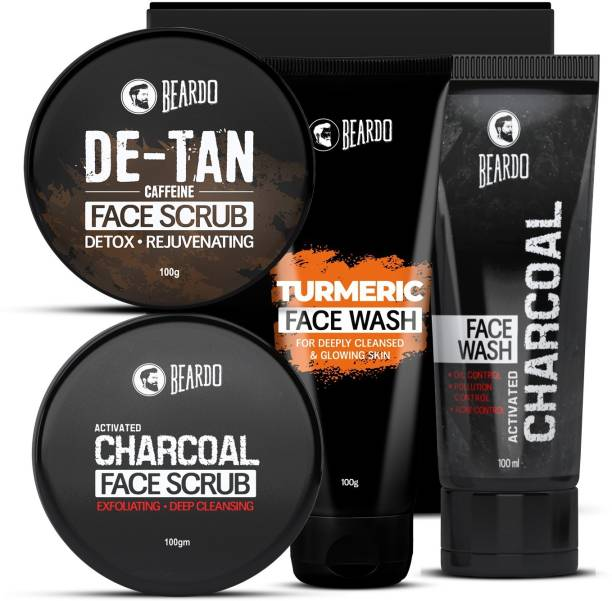 BEARDO Activated Charcoal Face Scrub and Facewash and De-tan Face Scrub and Turmeric Facewash Combo for Men