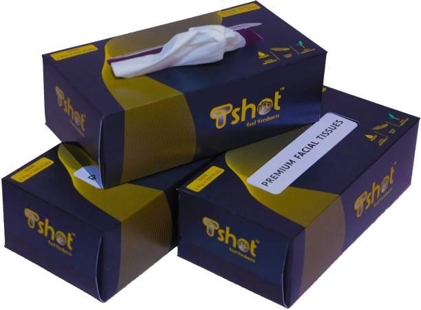 Tshot Car Tissue Paper, Soft Premium Face Tissue Paper Box 2 Ply 100 Pulls (Pack Of 3) (300 Tissues)