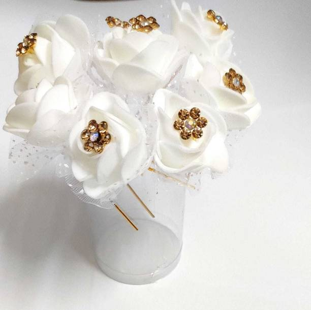 Sublime W Artificial Rose Flower Hair Juda Pin Hair Pin