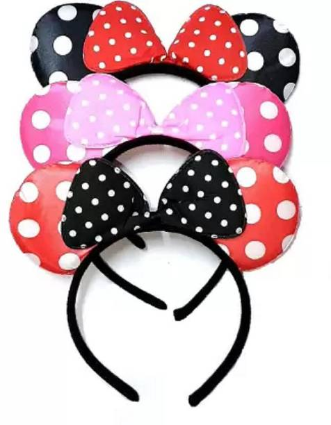 ALBORZ Pack Of 3 Party Wear Black/Pink/Red Minnie Mouse Ears Head Band Dotted Headband Hair Accessory For Girls And Womens (Multi Colour) Hair Band (Multicolor) Head Band
