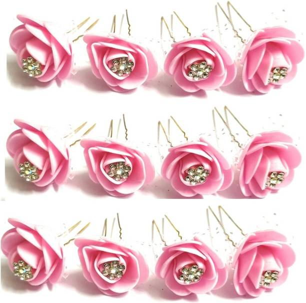 Sublime W Artificial Rose Flower Hair Juda Pin (Pack of 12) For Women And Girls (Pink) Hair Pin