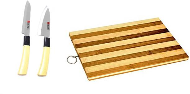 Ying Guns Knife Set (Pack of 2) + Wooden Chopping Board for Cutting Fruits, Vegetable, Meat, Fish & More Steel Knife