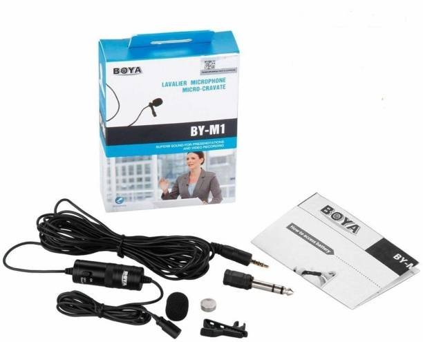 BOYA BY-M1 Omnidirectional Lavalier Microphone with 6 Meter Audio Cable and 1/4' Adapter Clip-On Mic for Smartphones, Canon, Nikon DSLR Cameras Microphone