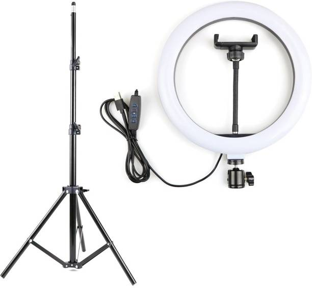 Alchiko Mobile Flash Accessory Combo for Portable Big LED Selfie Ring Light For Smartphone to Capture Your Photo and Video With Long 2.1 Stand For Live Streaming, LED Makeup, Short Videos, Video Conference, Online Classes