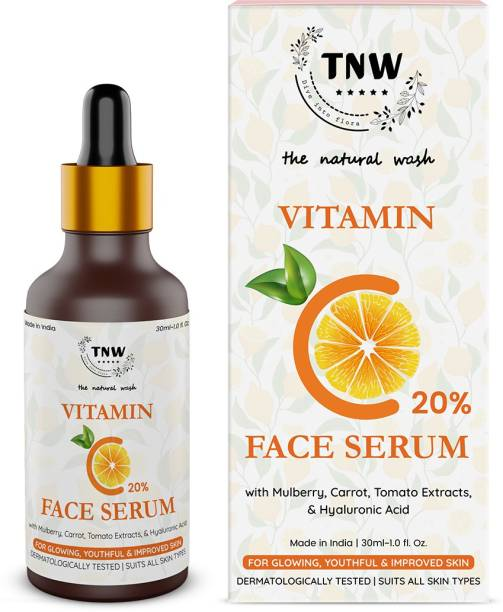 TNW - The Natural Wash Vitamin C 20% Face Serum with Mulberry,Carrot,Tomato Extracts,& Hyaluronic Acid for Glowing , Youthful & Improved skin ( Dermatologically Tested & Suits all skin types)
