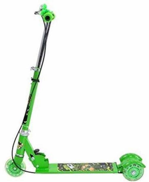 OSHO ENTERPRISE Road Runner Scooters for Kids Kick Scooter with Brake Bell LED Lights in Wheels and Adjustable Height (Green) Kids Scooter