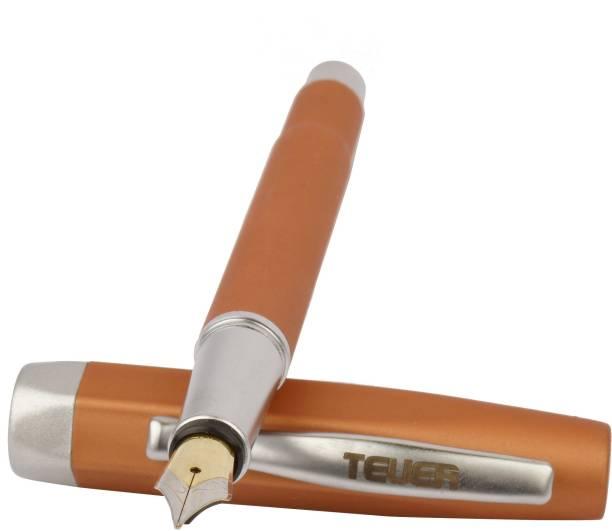 TEUER Bali Designer Collection Orange Body With Silver Clip Fountain Pen Fountain Pen