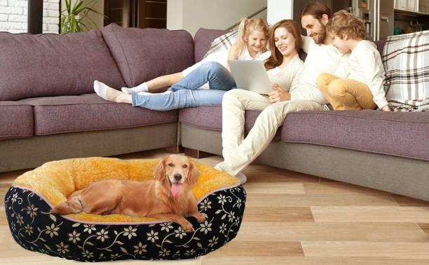 Dogerman Elegant Luxurious Reversible Durable Black Flock Velvet Faux Fur Dog Cat Pet Bed M Pet Bed
