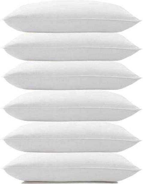 ZIBBRA Cotton Solid Sleeping Pillow Pack of 6
