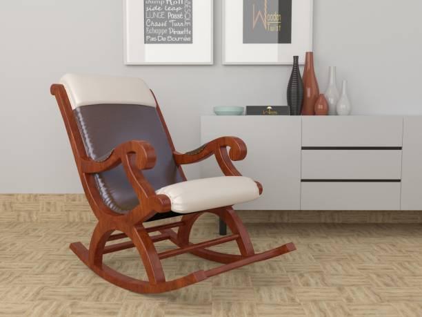 WoodenTwist Qualis Premium Sheesham Wood Rocking Chair Fabric 1 Seater Rocking Chairs