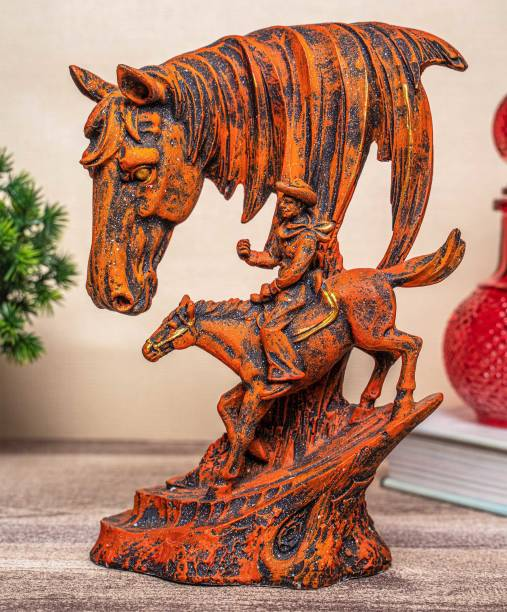 TIED RIBBONS Horse Decor Statue Figurine for Living Room Home Decorations Decorative Showpiece  -  22.8 cm