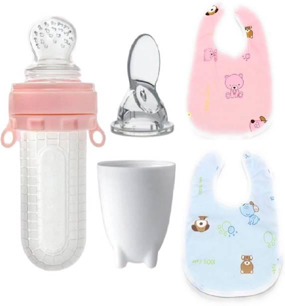 Manan Shopee Baby Silicone Food Feeder Bottle Cum Nibbler 30ml & 2 Pcs Baby Bibs -Combo