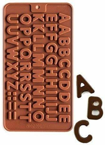 CELESTIAL INTERNATIONAL Chocolate silicon mould with ABCD alphabet pattern, Mini Baking Molds, Non Stick Hard Gummy Candy, BPA Free Candy Making Mold,Cake Decoration craft Chocolate Mould
