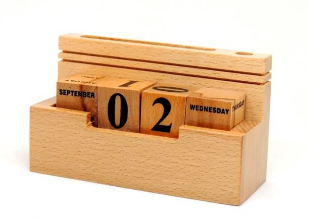 INNOX Creative Handcrafted Perpetual Calendar with Pen Stand and Mobile Stand Slots , Office Decor Gift Item || Vintage Style Smooth Finish Wooden Calendar || Best Table Top Desk Organizer Giftset for all Occasions Birthday Gift, Anniversary Gift, Diwali Gift , Promotional Gift, Christmas Gift, New Year Gift || High Quality Never Ending Date Table Calendar