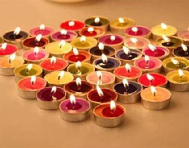 Fitness India Pure Paraffin Multi Colour Multi Purpose, Smokeless Tealight Candle (Multicolor, Pack of 1) Candle