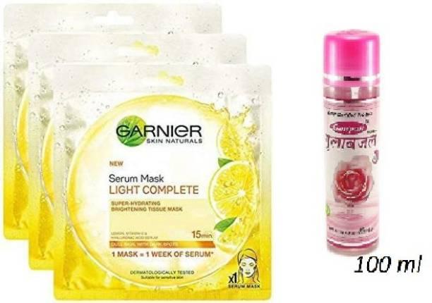 GARNIER light cmplete mask 32g*3 + 100 ml ganpati rose water
